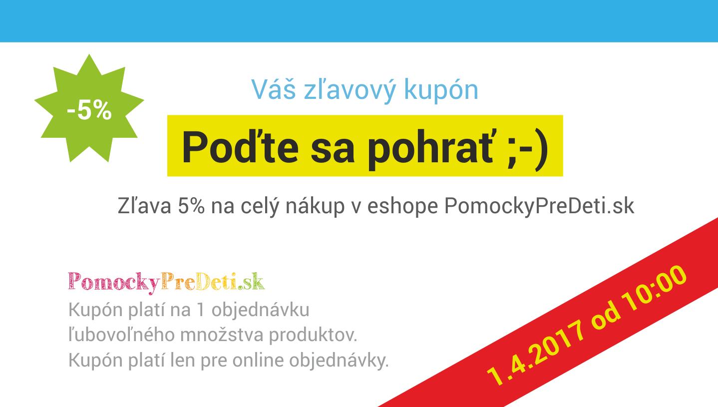Kupón na 5% zľavu v eshope PomockyPreDeti.sk - upútavka