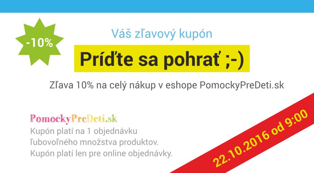 Kupón na 10% zľavu v eshope PomockyPreDeti.sk - upútavka
