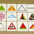 Geometrické tvary - náhľad na všetky karty ku geometrickému tvaru (trojuholník)