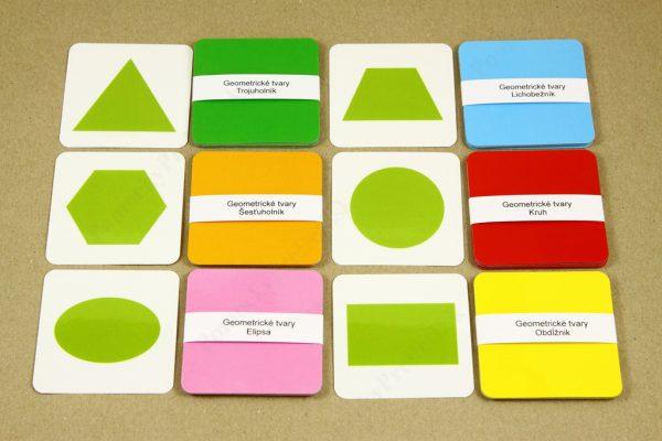 Geometrické tvary - základné a obrázkové karty (rubová strana s farebnou výplňou)