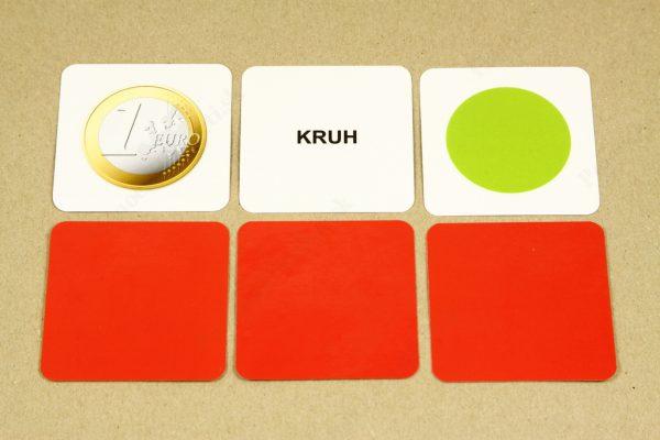 Geometrické tvary - karta s obrázkom, karta s názvom geometrického tvaru, základná karta a farebná rubová strana kariet (kruh)