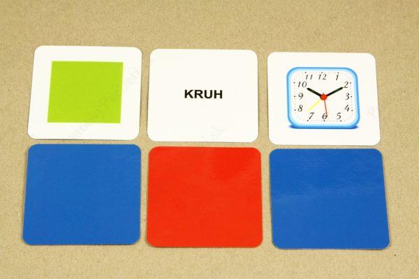 Geometrické tvary - základná karta, karta s názvom geometrického tvaru, obrázková karta a farebná rubová strana kariet (štvorec, kruh)
