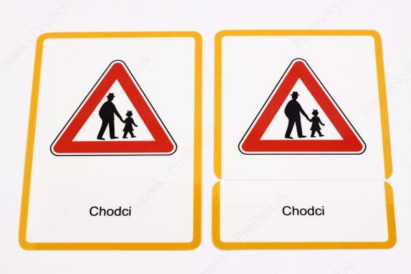 Dopravné značky - kontrolná karta, karta s dopravnou značkou a karta s názvom dopravnej značky