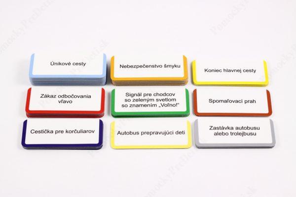Dopravné značky - karty s názvom dopravnej značky