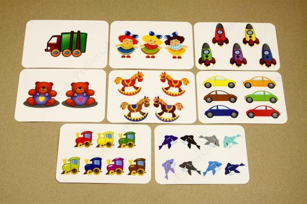 Počítanie do 10 - ukážka vybraných obrázkových kariet (Hračky)