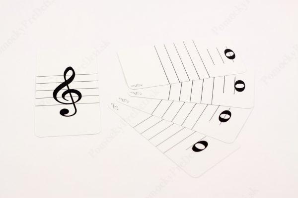 Noty - trpaslíci MAXI - ukážka vybraných kariet s notou v husľovom kľúči