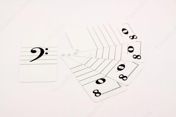 Noty - trpaslíci MAXI - ukážka vybraných kariet s notou v basovom kľúči