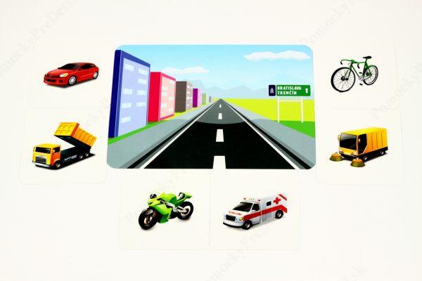 Dopravné prostriedky MAXI - základná karta s vybranými obrázkovými kartami (Doprava po ceste)