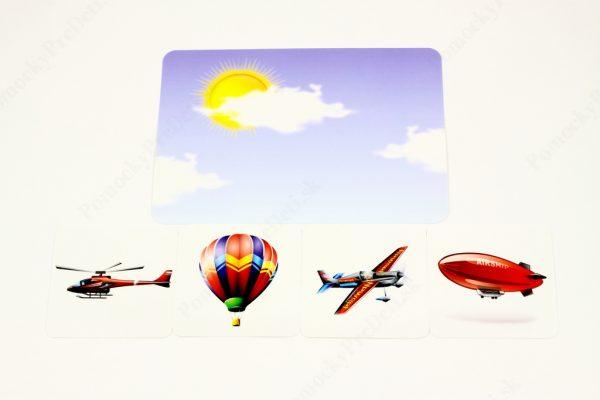 Dopravné prostriedky MAXI - základná karta s vybranými obrázkovými kartami (Doprava vo vzduchu)