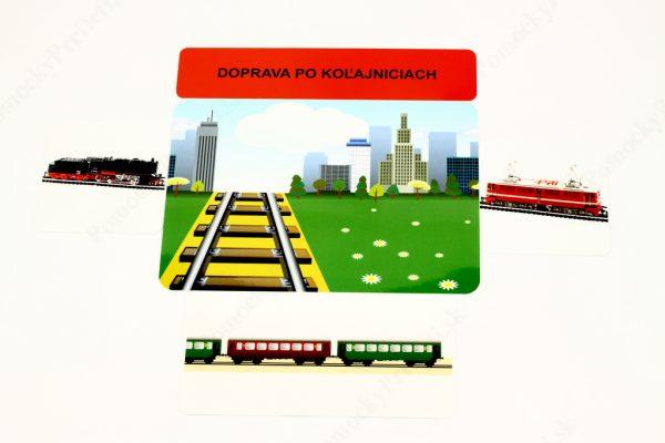Dopravné prostriedky MAXI - základná karta s vybranými obrázkovými kartami (Doprava po koľajniciach)