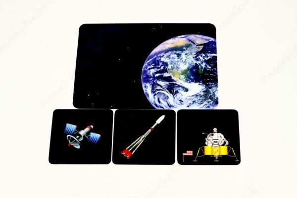 Dopravné prostriedky MAXI - základná karta s vybranými obrázkovými kartami (Doprava vo vesmíre)