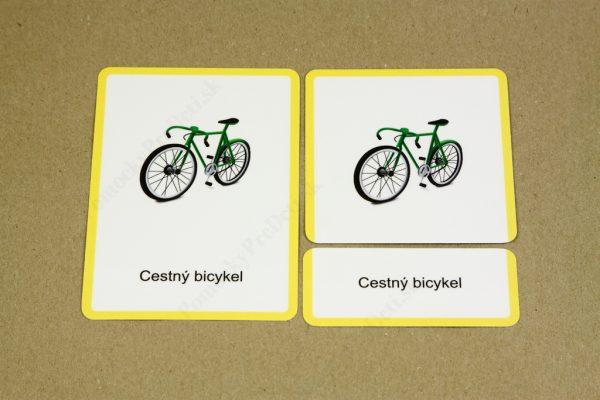 Dopravné prostriedky MAXI - kontrolná karta, karta s dopravným prostriedkom a karta s jeho názvom