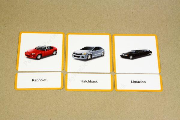 Dopravné prostriedky MAXI - ukážka vybraných kariet s dopravným prostriedkom a kariet s jeho názvom (Osobné autá)