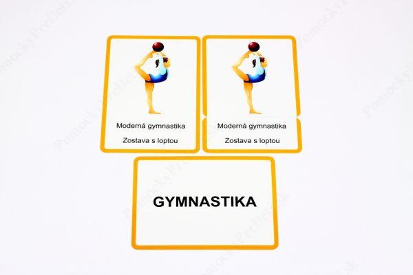 Šport MAXI - kontrolná karta, karta s obrázkom športovej disciplíny, karta s jej názvom a textová karta (Gymnastika)