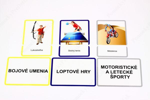 Šport MAXI - karty s obrázkom športovej disciplíny, karty s názvom športovej disciplíny a textové karty