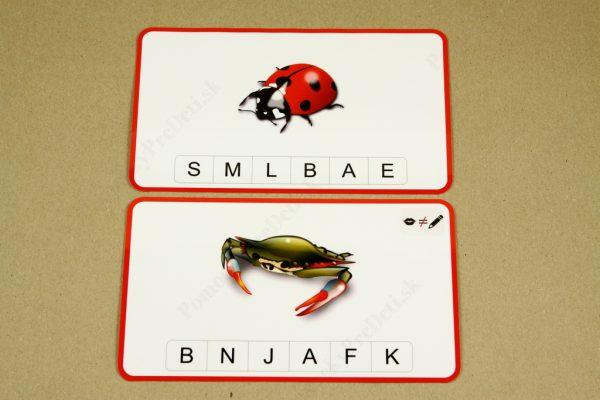 Koncová hláska - ukážka vybraných kariet (karta so symbolom spodobovania hlásky)