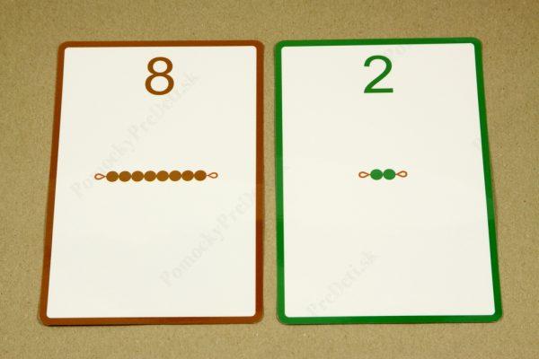 Rozklad čísel do 10 - ukážka vybraných kariet (líce)