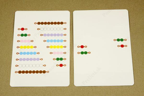 Rozklad čísel do 10 - ukážka vybraných kariet (rub)