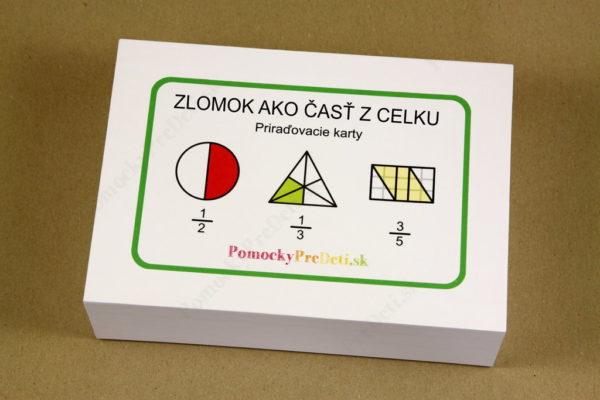 Zlomok ako časť z celku - priraďovacie karty - krabička