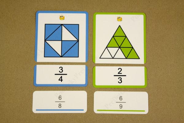 Zlomok ako časť z celku - priraďovacie karty + doplnkové karty s alternatívnym výsledkom