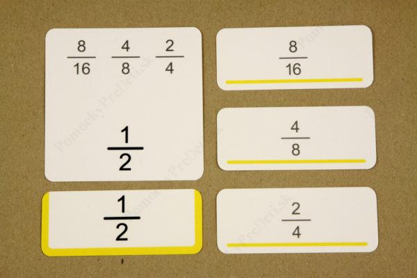 Zlomok ako časť z celku - zadná strana hlavnej karty so zobrazením správneho riešenia