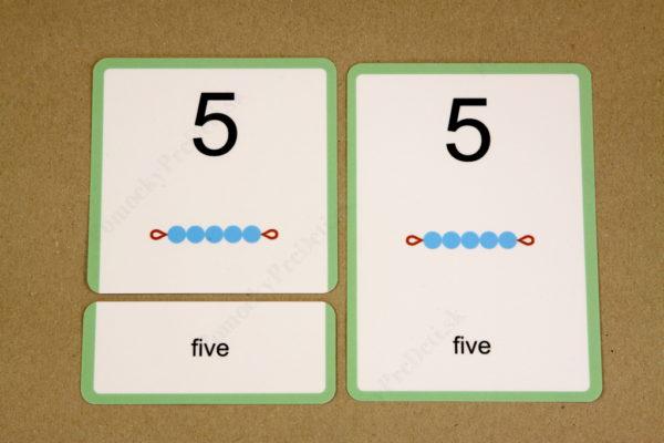 Anglické slovíčka – číslovky - trojica kariet (zadanie, riešenie, kontrolná karta)