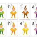 Tónová sústava - veľké karty na priraďovanie základných nôt hudobnej abecedy - rub (kontrola)