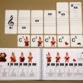 Tónová sústava - ukážka priradenia názvu nôt (noty v husľovom kľúči) + príslušný obsah v učebnici